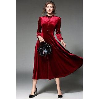 Vivient Women Maroon Buttoned Velvet Dress