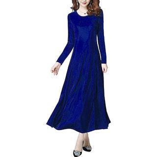 Vivient Women Royal Blue Plain Velvet Dress