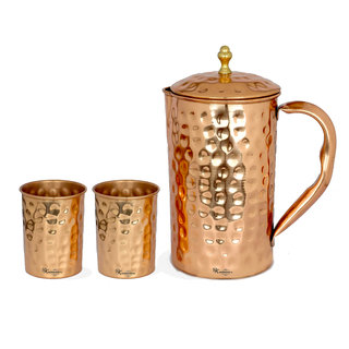 Rk Handicrafts Copper Jug With Glass Set Of 2 Water Jug Set