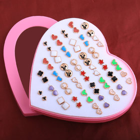 Silver Shine Multi Colourd Set Of 36 Earrings For Wome And Girls.