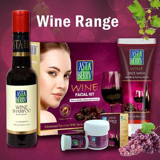 Astaberry Complete Wine Range Kit For Women Shampoo (200 Ml), Wine Face Wash 60Ml, Mini Facial Kit, Bleach 42Gm