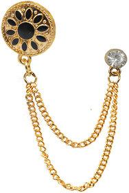 Shiv Jagdamba Mens Suit White Rhinestone Crystal Wedding Lapel Pin Hanging Chain Gold Black Brass Brooch