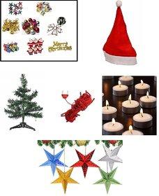 Sc Combo For Christmas Decoration - 1 Feet Christmas Tree, Santa Cap, Red Rice Light, 6 Pcs Tealights, 2 Paper Stars, 12