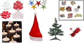 Sc Jumbo Combo For Christmas Decoration - Christmas Tree, Santa Cap, Rice Light, Tealights, Paper Stars, Red White Bal