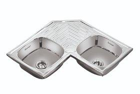 Orange Stainless Steel Double Bowl Corner Kitchen Sink 36X36X8 Inch