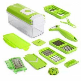 Shopping Store Multipurpose Chopper Nicer Slicer Dicer - Vegetable And Fruit Chopper, Slicer, Cutter, Grater, Peeler For Salads Green With Unbreakable Poly Carbonate Body And Heavy Stainless Steel Blades