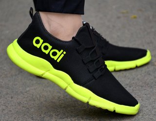 Aadi Black Mesh Running Sport Shoes For Men