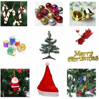 13 pcs Christmas combo-1 Feet Christmas Tree, Santa Cap, Red Rice Light And Tree Decorations Set (Balls, Bells, drums, etc)