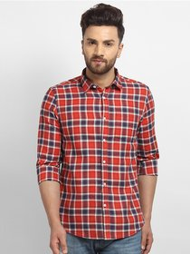Cape Canary Men'S Red Cotton Checkered Casual Shirt