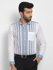 Cape Canary Men'S Blue Cotton Striped Formal Shirt