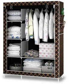 1 Year Warranty Folding Wardrobe Wrought Iron Structure And Fabric Cloth Shelfs 6 Shelfs 1 Hanger