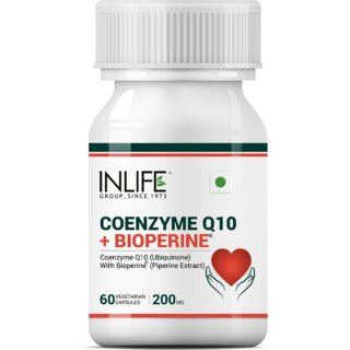 Inlife Coenzyme Q10 Coq10 200Mg With Bioperine (Piperine) 8Mg Supplement - 60 Vegetarian Capsules