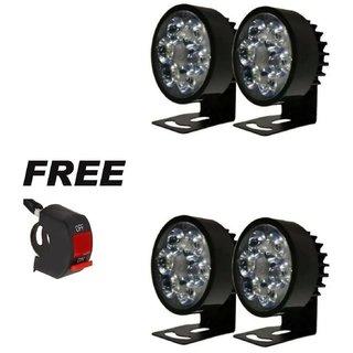 Fog Led Light Pack Of 4 With Switch Free (6 Led Light)