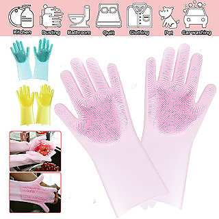 Vessel Crew High Quality Silicon Brush Gloves Rubber Universal Size Cleaning Glove- 2 Gloves
