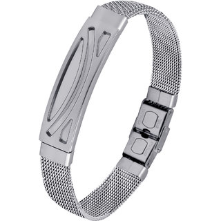 Silvershine Silverplated Stainless Steel Stretchable Belt Bracelet For Men And Boys.