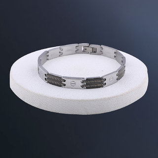 Silvershine Silver And Black Dual Colour Stylist Designer Bracelet For Men And Boy Jewellery