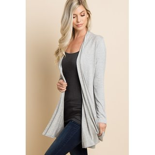 Vivient Women Grey Full Sleeve Long Shrug