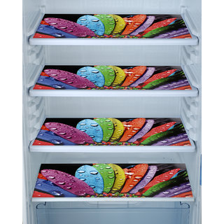 Aradent Multipurpose Refrigerator Mats Set Of 4 Pcs For Single Door Fridge (Size 12X17 Inches, Color  Multicolor)