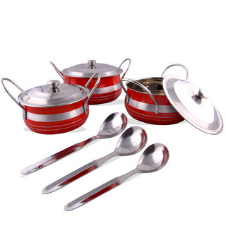 Rk Handicrafts Stainless Steel Handi Set, 6-Pieces, Red