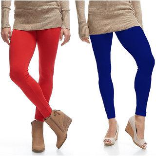 Jakqo Women's Cotton Plain Ankle Length Legging (Free Size, Pack Of 2, Red, Royal Blue)