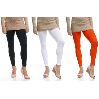 Jakqo Women's Cotton Plain Ankle Length Legging (Free Size, Pack Of 3, Black, White, Orange)
