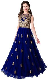 Florence Navy Net Embroidered Semi Stitched Gown