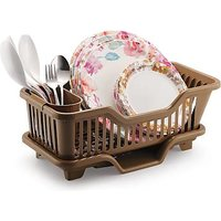 Evershine 3 In 1 Durable Plastic Kitchen Sink Dish Drying Drainer Rack Holder Basket Organizer With Tray Brown