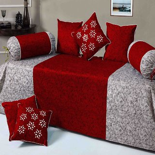 Casa-Nest Velvet Diwan Set Of 8Pc Marron(1 Bedsheet With 2 Blosters And 5 Cushion Covers)