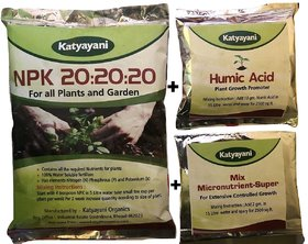 Npk 20 20 20 Fertilizer For Plants With 2 Free Sample - Mix Micronutrients And Organic Humic Acid Complete Plant Food 10