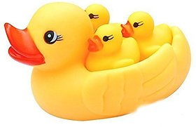 Kidz Duck Family Toys 4 Set Yellow Rubber Ducklings