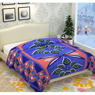Fleece Polyester Blue 3D Printed  Double Bed AC Blankets By Azaani