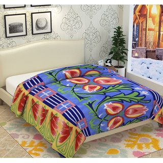 Azaani Double Bed Multicolor Polyester Floral Printed Ac Blanket