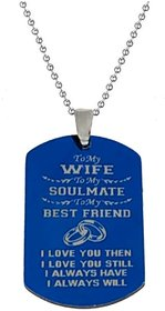 Men Style Best Anniversary Gift To My Wife Blue Silver Stainless Steel Necklace Pendant