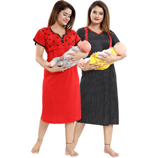 Be You Red-Black Cotton Women Maternity Nighty For Feeding (Pack Of 2) - Free Size