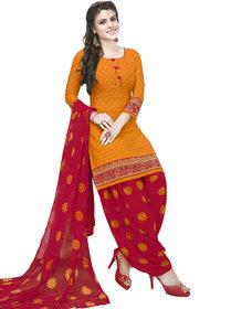 Women Shoppee Women's Yellow, Pink Printed Salwar Suit Material