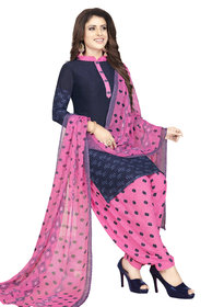 Women Shoppee Women's Blue, Pink Printed Salwar Suit Material