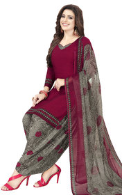 Women Shoppee Women's Maroon, Grey Printed Salwar Suit Material