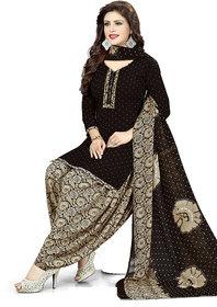 Women Shoppee Women's Black, Beige Printed Salwar Suit Material