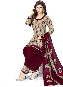 Women Shoppee Women's Beige, Maroon Printed Salwar Suit Material