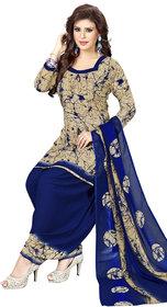 Women Shoppee Women's Beige, Blue Printed Salwar Suit Material