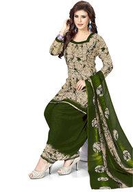 Women Shoppee Women's Beige, Green Printed Salwar Suit Material