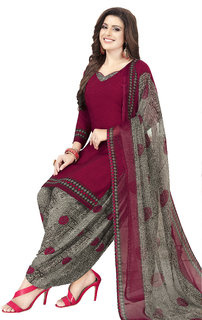 Women Shoppee Women's Maroon, Grey Printed Salwar Suit Material