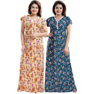 Be You Yellow-Teal Sarina Satin Women Night Gowns / Nighty Pack Of 2 - Free Size