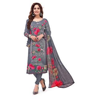 Women Shoppee Women's Grey, Pink Printed Salwar Suit Material