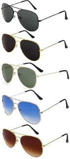 Debonair Unisex Black , Blue, Brown, Green UV Protected Pack Of 5 Aviator Sunglasses