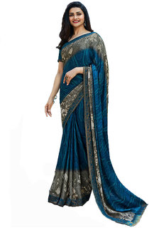 Printed Georgette Royal Fashion Bollywood Sari A28Bluegray194111