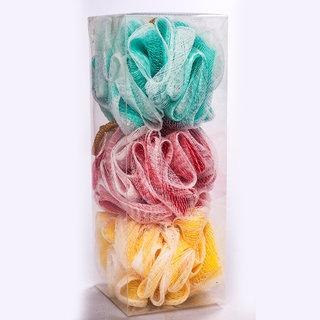 G-PET Bath Sponge Loofah Pack Of 3 (Multicolor)