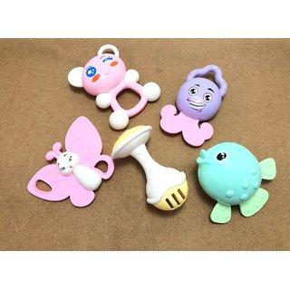 Baby Rattle Set Lovely Colorful Animal Toys Based On Theme Of Sound Shaking 5 Pcs Set