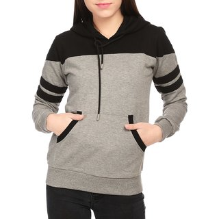 Raabta Fashion Women Grey With Black Strip Hooded Sweat Shirt