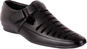 1AAROW Men's Synthetic Slip-on Black Sandal Shoes